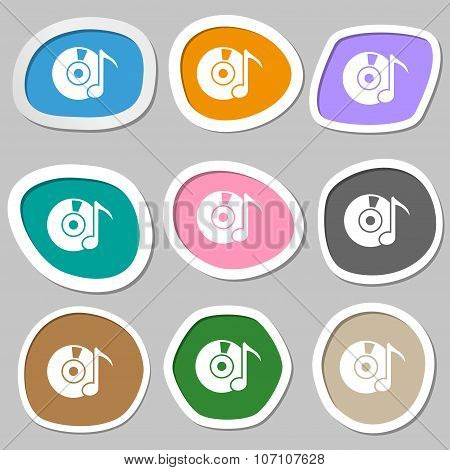 Cd Or Dvd Icon Sign. Multicolored Paper Stickers. Vector