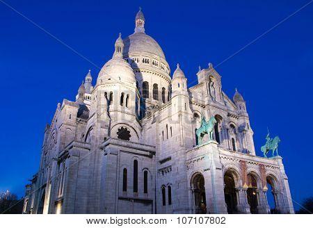 The Basilica Sacre Coeur In Evening, France, Paris.