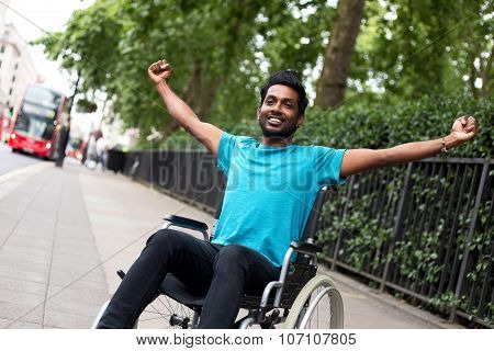 happy disabled man