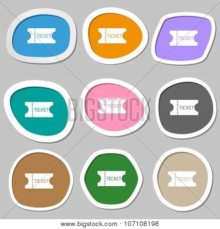 Ticket Icon Sign. Multicolored Paper Stickers. Vector