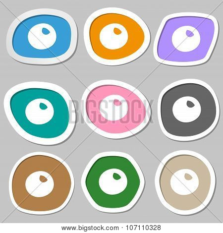 Number Zero Icon Sign. Multicolored Paper Stickers. Vector