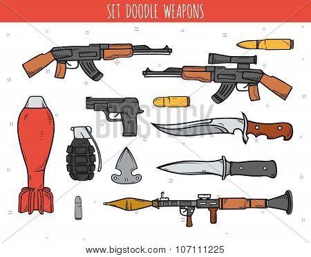 Big doodle set of weapon, shells, handwork bombs.