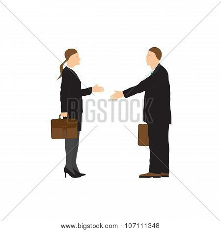 Two Businessmen. Man And Woman. Handshake.