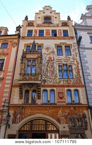Historical Building Facade With Fresco Of Art Nouveau Style In Old Town, Prague