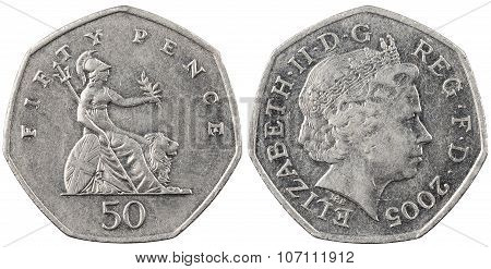 The British coin fifty pence