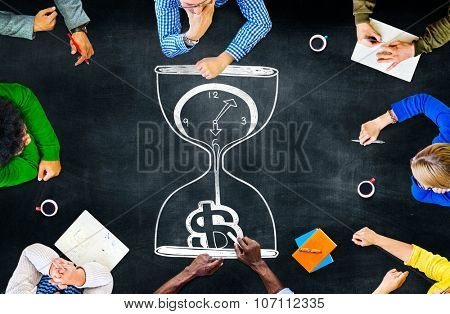 Time is Money Sand Glass Investment Countdown Measure Concept