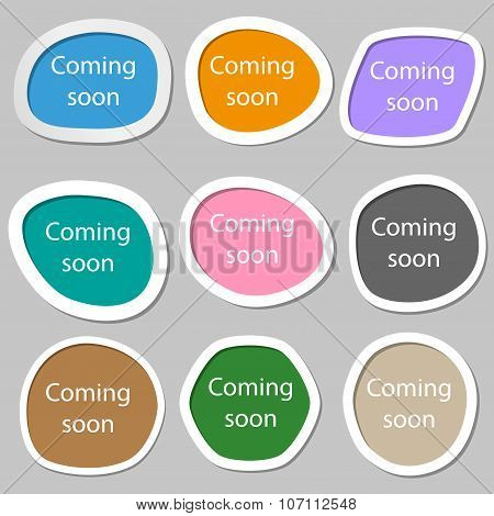 Coming Soon Sign Icon. Promotion Announcement Symbol. Multicolored Paper Stickers. Vector