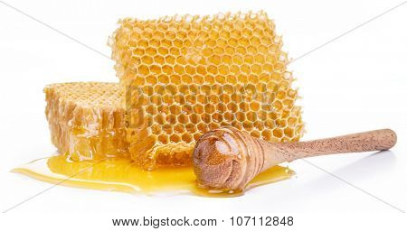 Honeycomb on a white background.  High-quality picture.