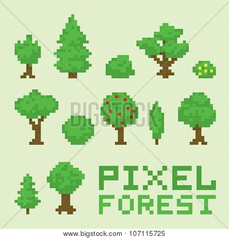 Pixel art forest isolated vector set