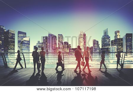 Business People Commuter Walking Rush Hour Concept
