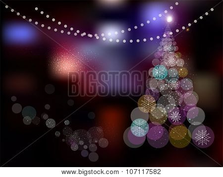 Magic Christmas Tree on abstract colorful background