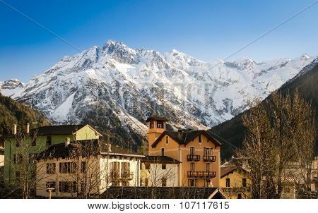 Ponte Di Legno (italy) Is A Village Surrounded By The Alps.
