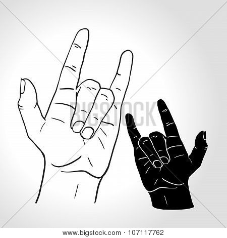 Sign Of The Horns. Rock On Hand Sign, Rock N Roll, Hard Rock, Heavy Metal, Music, Detailed Black And