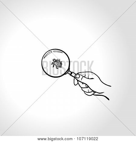 Hand with magnifying glass and bug. Outline drawing