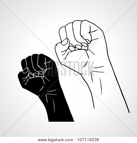 Clenched fist held high in protest. Outline and silhouette. Vector illustration