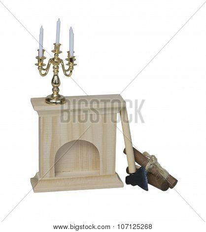 Chandelier On Fireplace With Logs And Hatchet