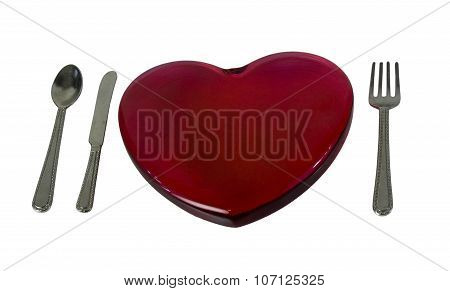Red Glass Heart And Silverware