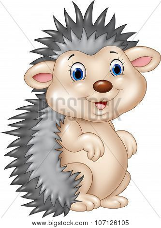Adorable baby hedgehog sitting isolated on white background