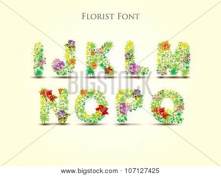 Fresh grass alphabet with blooms in vector - Florist Font