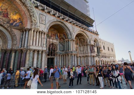 Venice, Italy - September 19, 2015: San Marco Square - Venice Italy In The City Of Venezia (unesco W