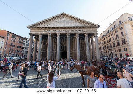 ROME - JULY 21, 2015: The Pantheon, Rome, Italy. Pantheon is a famous monument of ancient Roman culture, the temple of all the gods, built in the 2nd century.