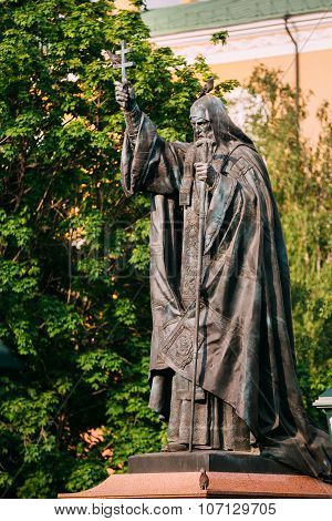 Patriarch Hermogenes monument in Moscow Russia