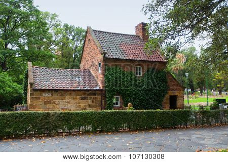 MELBOURNE, AUSTRALIA - March 12, 2015: James Cook's Cottage. James Cook's parents house de-constructed in England and re-erected in Australia is popular tourist attraction