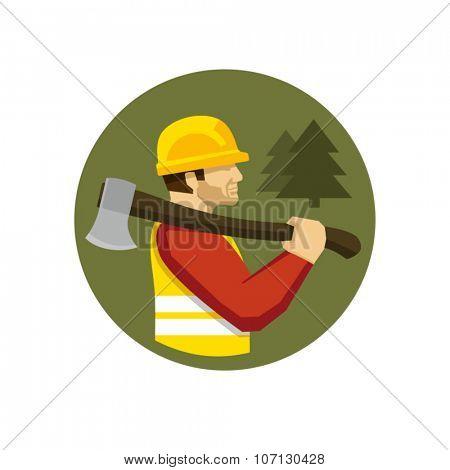 Lumberjack holding axe vector