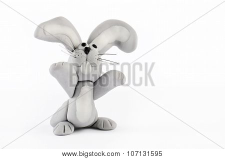 Cute Bunny Figurine Isolated On White