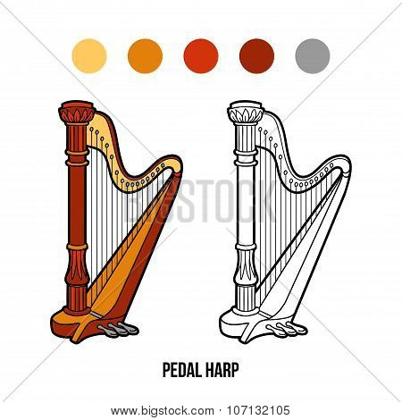 Coloring Book: Music Instruments (pedal Harp)