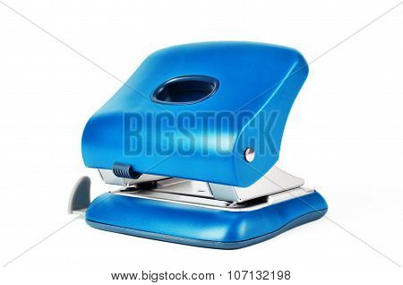 New Blue Office Paper Hole Puncher Isolated On White Background