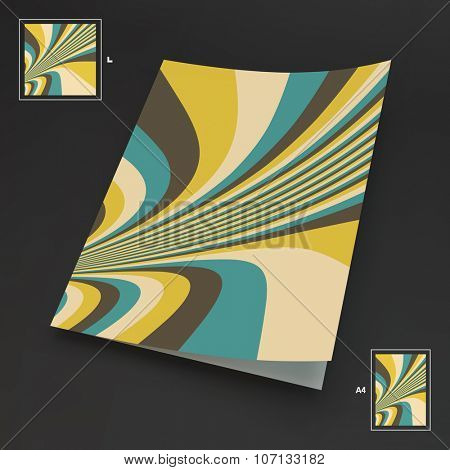 Textbook, Booklet or Notebook Mockup. Vector Illustration. Abstract Striped Background.