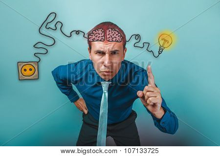 businessman raised his index finger up and frowned alert brain b