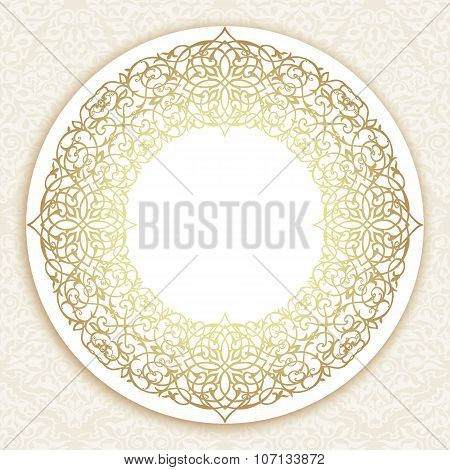 Decorative ornate round frame in Victorian style.