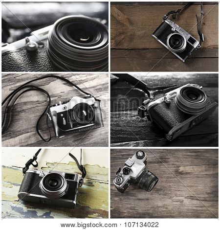 Collage of retro camera on wooden background