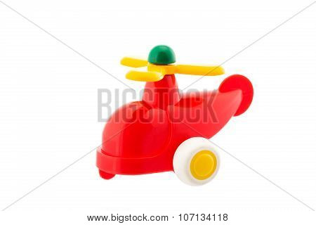 Red Plastic Helicopter, Baby Toy Isolated On White