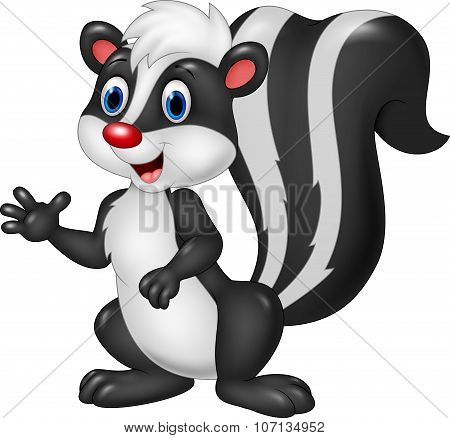 Cartoon skunk waving hand isolated on white background