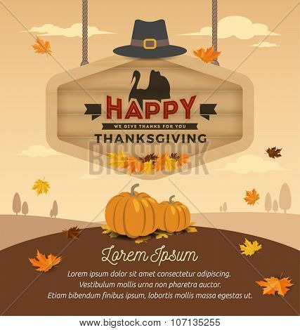 Happy Thanksgiving Day On Wooden Board Hanging. Vector Illustration