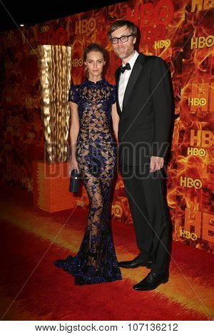 LOS ANGELES - SEP 20:  Christine Marzana, Stephen Merchant at the HBO Primetime Emmy Awards After-Party at the Pacific Design Center on September 20, 2015 in West Hollywood, CA