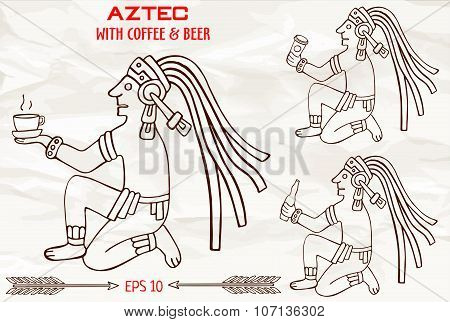 Hand Drawn Aztec Of South America Sitting With Drinks