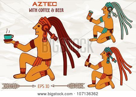 Colorful Aztec Or Maya Of South America Sitting With Drinks