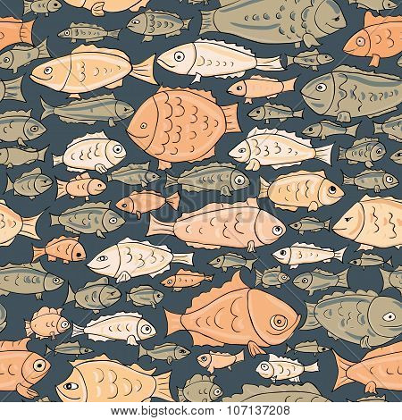 hand drawn fishes seamless pattern. vector illustration