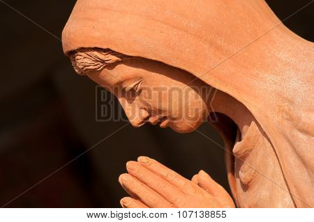 Saint Mary Statue In Nativity Scene