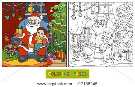 Coloring Book For Children: Santa Claus Gives A Gift A Little Boy