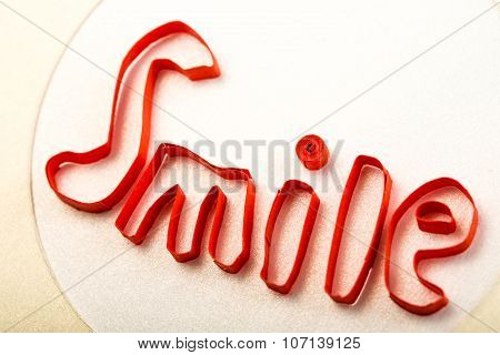 Smile Text Made With Quilling Technique Close-up Studio Shot