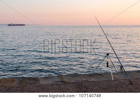 Fishing Rod At The Ocean's Shore