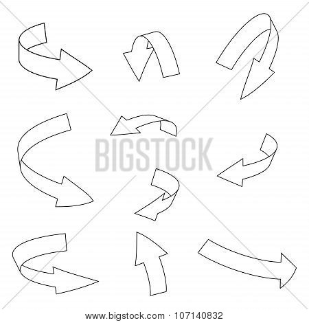 Arrow Symbol Outline, Curved Icon Business Concept Set . Vector Illustration Isolated On White Backg