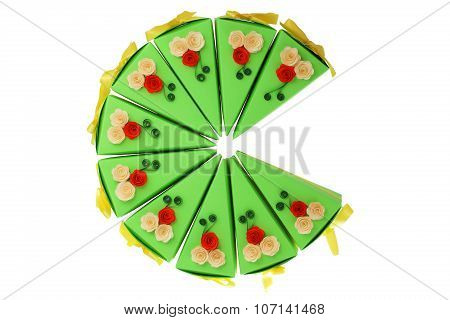Colorful Paper Pieces Of Cake With Flowers Made With Quilling Technique Isolated