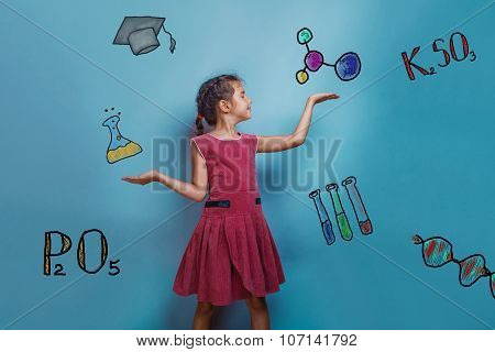 teen girl chemistry teenage student and the flask holding the fo