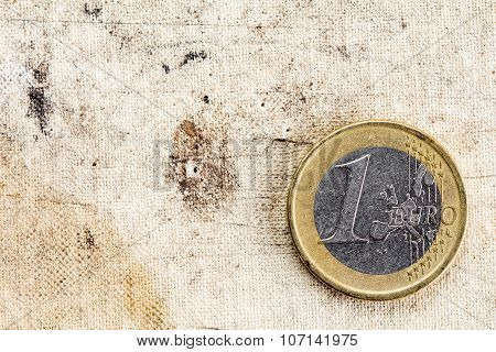 One Euro On Old Canvas